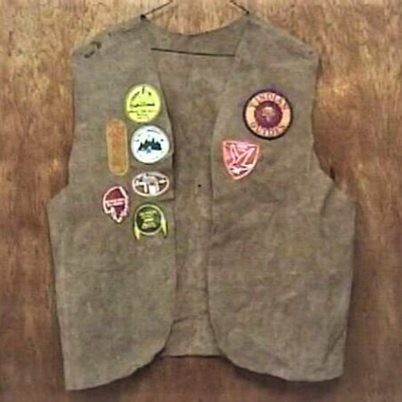1980's YMCA Y INDIAN GUIDES LEATHER VEST Meckcha